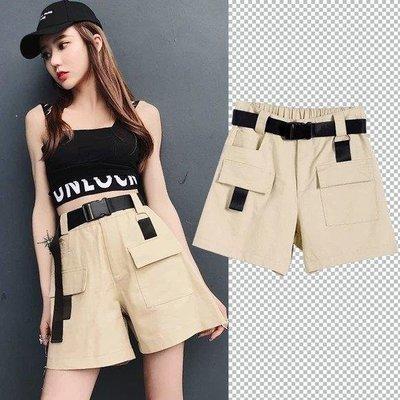 哆啦本鋪 工裝短褲女寬鬆BF風夏季新款日系五分褲直筒中性韓版高腰 D655