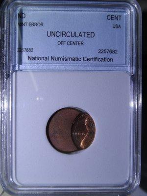 【金包銀】變體幣-美國林肯1cent移位幣NNC UNC,OFF center (鑑定幣)《編號:A1214》