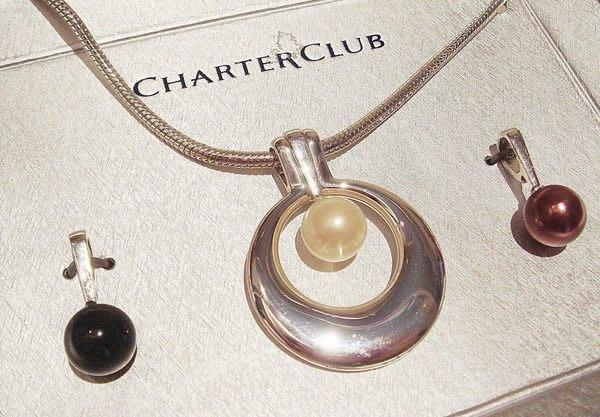 全新美國 CHARTER CLUB 高質感三色珍珠造型項鍊,可替換珠珠部份墜子,低價起標無底價!本商品免運費!