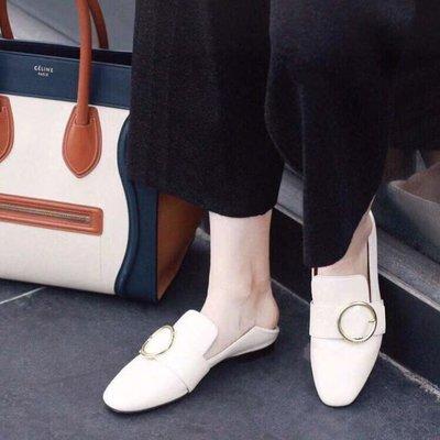 【全新正貨私家珍藏】Bally 女款經典圓扣圓頭可踩福樂平底鞋
