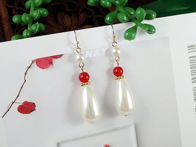 【N&Y】EB77優雅珍珠紅瑪瑙耳環☆...
