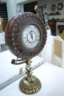 地球儀型桌上鐘  時鐘  復古歐風銅鐘...