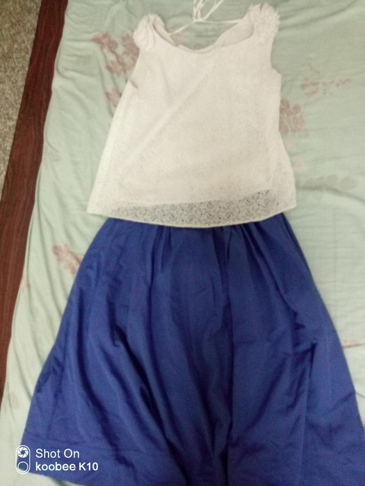susu高單價日本品牌棉質藍色八分裙