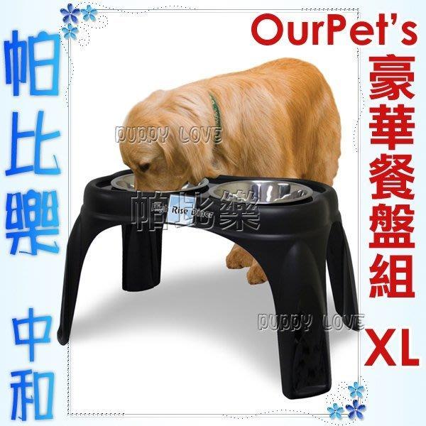 ◇帕比樂◇美國Ourpets,架高豪華餐盤組【XL號】#11493,每狗必備餐桌,幫助進食不易嘔吐,架高碗