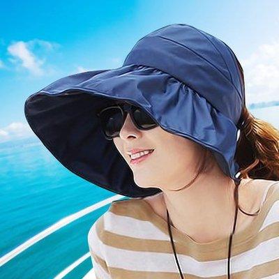 遮臉大沿遮陽帽女海邊防曬夏天沙灘帽可折疊太陽帽子涼帽