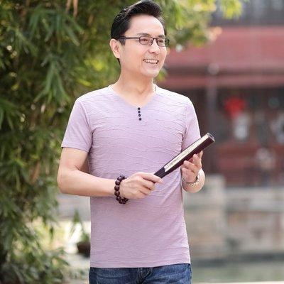 中年男士短袖t恤V領薄款40-50歲爸爸裝半袖雞心領夏裝透氣體恤衫爸爸裝 短袖上衣