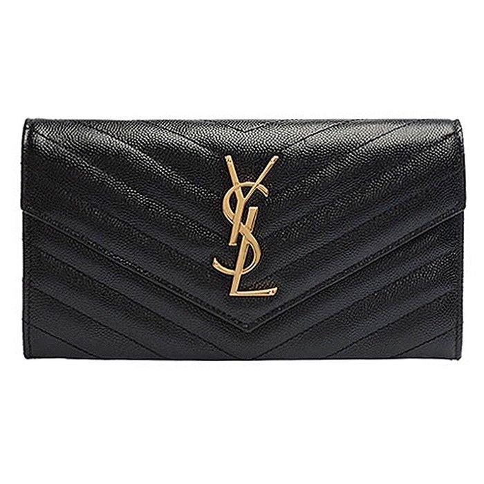 美國百分百【全新真品】YSL 晚宴手拿包 皮夾 經典款 logo 真皮 信封式 牛皮 女用 黑色 J971