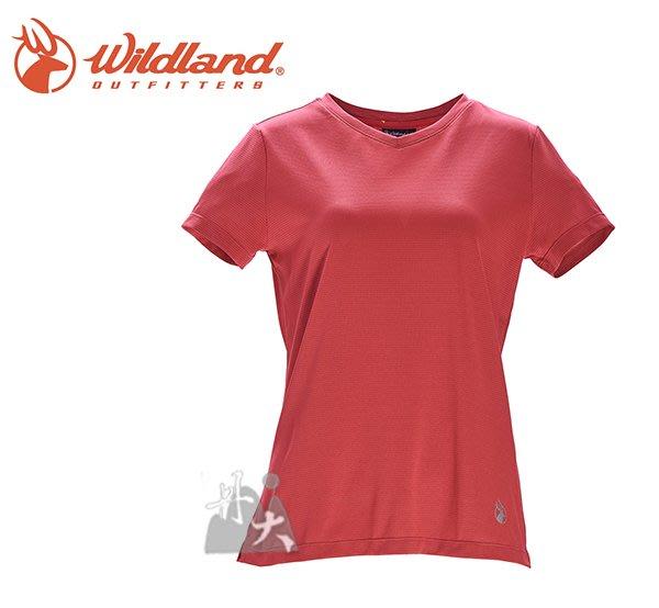 丹大戶外【Wildand】荒野 女彈性條紋V領上衣 0A71623-15 珊瑚紅