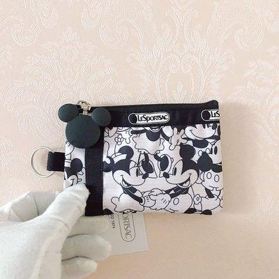 凱莉代購 LeSportsac 2437 黑白米奇 零錢包 收納包 鑰匙包 證件夾 工作證 降落傘防水 限量 預購