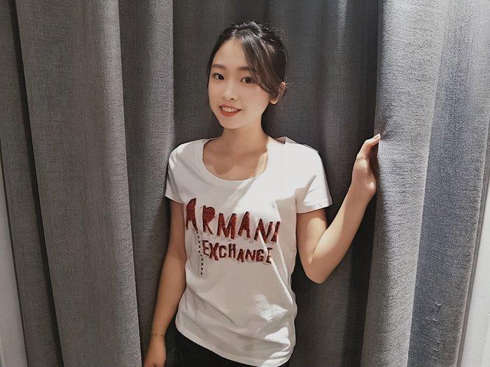 【蟹老闆】AX 正品 ARMANI EXCHANGE 經典LOGO 圖騰線 女短袖  白色