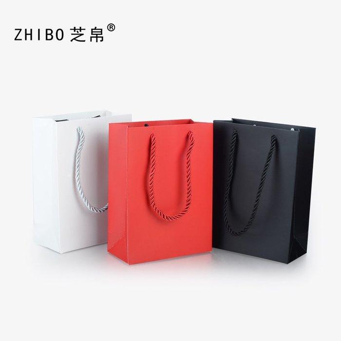 zhibo芝帛白卡黑色紅色飾品包裝禮品折疊紙袋送禮加厚繩子手提袋精美首飾盒