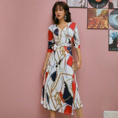 正韓 連身裙 名媛 上班族韓版時尚系帶v領開叉一片式裹身印花長裙中袖連衣裙