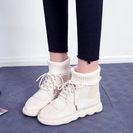 短靴 馬丁靴女2019新款冬季chic學生韓版加絨女靴子文藝森系毛線口短靴 2色35-40   限時免運
