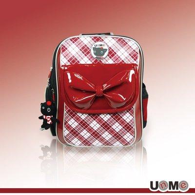 加賀皮件 UnMe 台灣製造 蘇格蘭甜美蝴蝶結 彈性背帶 兒童雙肩減壓 背包 書包 後背包 3235