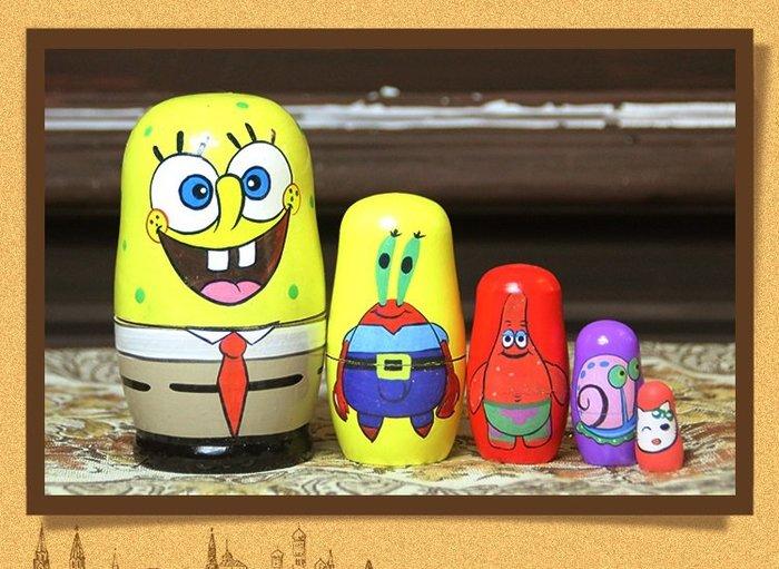 套件 實拍 俄羅斯套娃 海綿寶寶五層套娃椴木工藝品生日禮物居家擺件設計手作俄羅斯娃娃 1款 預購JYUN'S