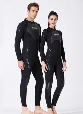 《旅遊生活》Dive&Sail 3mm長袖連身濕式防寒衣(全黑) 水母衣 防曬衣 潛水衣 衝浪衣 浮潛服 冬泳 潛水服