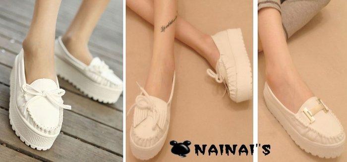 【NAINAIS】beauty 美鞋‧3569 韓版 小白鞋松糕鞋平跟單鞋厚底鞋 流蘇款/蝴蝶結款/H款 3款預