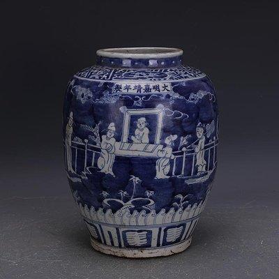 【三顧茅廬 】大明嘉靖青花留白人物紋冬瓜罐 出土古瓷器手工瓷古玩收藏品