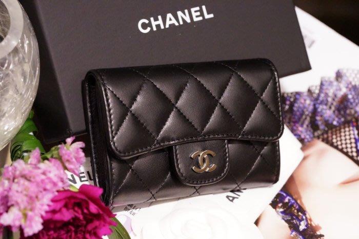 Chanel A80799 小羊皮 卡片零錢夾 黑
