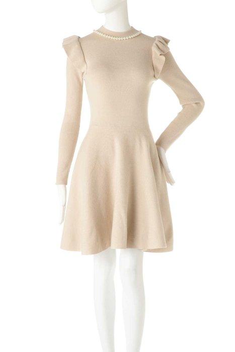 Jill by Jill Stuart正品 珍珠裸色荷葉肩針織洋裝 日本專櫃 M號
