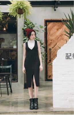 轉,JoYcE ShOp.Resplendent.韓系女孩口袋連身洋裝-2系 黑