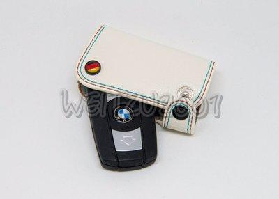 BMW E系列 M POWER 鑰匙皮套 鑰匙保護套 鑰匙包 真牛皮 手工製作 白色紅藍線 M2