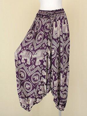 貞新二手衣 紫色大象民俗風棉質飛鼠褲哈倫褲垮褲F號(10381)