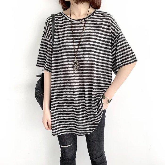 寬鬆條紋棉質T-shirt上衣
