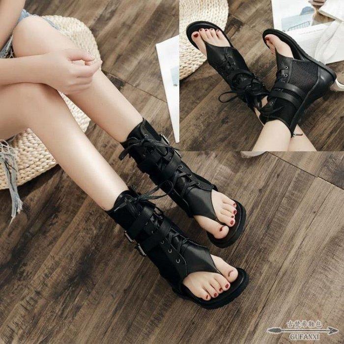 夾趾涼鞋 網靴平底涼鞋夏羅馬高筒拉鏈性感黑色網紗中筒鏤空短靴 - 古梵希