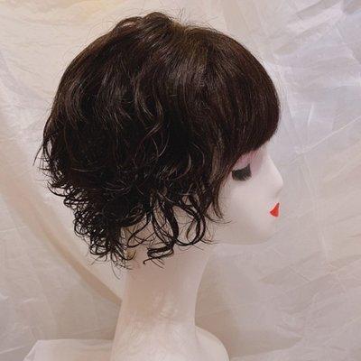整頂假髮真髮絲短假髮-逼真齊瀏海捲髮全手織女假髮2色73vr7[獨家進口][米蘭精品]