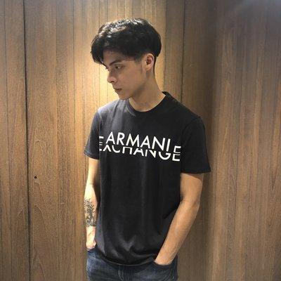美國百分百【Armani Exchange】T恤 AX 短袖 logo 上衣 T-shirt 男款 S,M 黑 I017