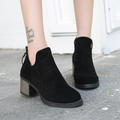 英倫風馬丁靴 磨砂皮短靴 粗跟裸靴 中...