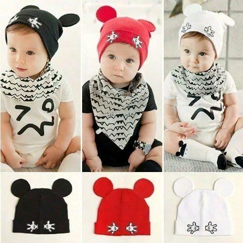 *ω*茱蒂*ω*韓國新款可愛手掌米奇耳朵寶寶套頭帽全棉幼兒童帽子翻邊嬰兒帽子 /現貨 /3色可挑選