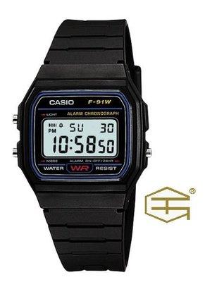 【天龜】CASIO 經典復古  簡約電子錶 F-91W-1 台中市