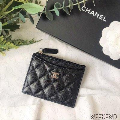 【WEEKEND】 CHANEL 香奈兒 荔枝皮 銀色Logo 銀扣 零錢包 卡包 卡夾 黑色 AP0219