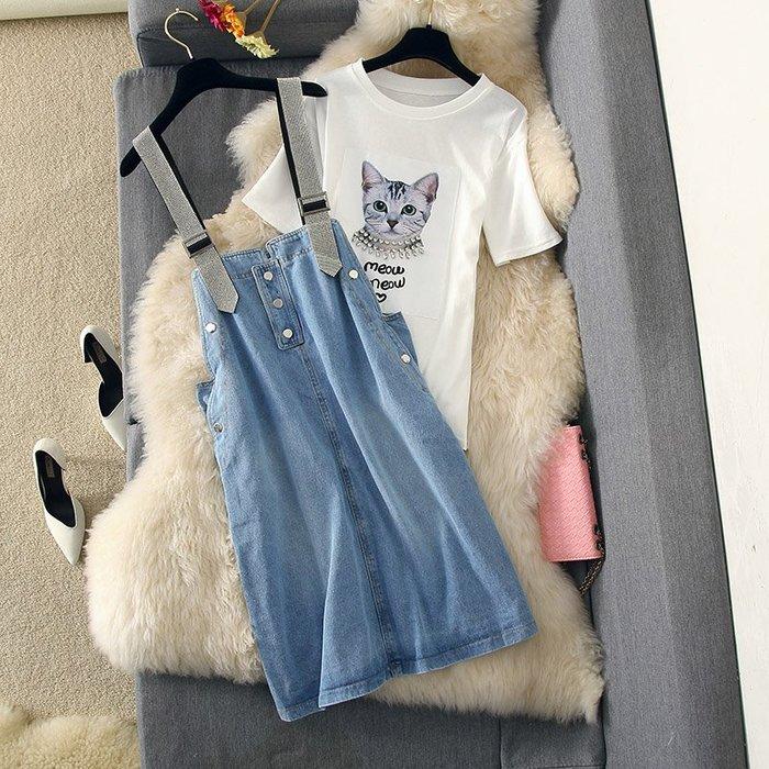 牛仔洋裝 半身裙 A字裙 時尚套裝連衣裙貓T恤鉆石肩帶牛仔背帶裙寬松兩件套
