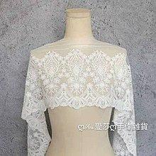 『ღIAsa 愛莎ღ手作雜貨』精品軟網白色刺繡網紗蕾絲花邊布料DIY家紡婚紗服裝輔料布料寬24cm