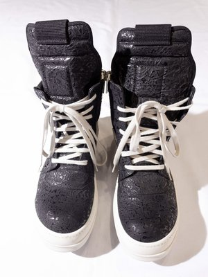 Rick Owens Embossed high-top casual shoes. RO 瑞克歐文斯 壓紋 休閒鞋