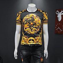 【英爵倫】中國風短袖男T恤創意龍袍冰絲個性夜店型男紋身上衣2020夏裝半袖