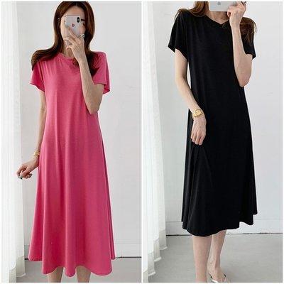 Bellee  正韓  舒適棉質短袖微A腰身連身裙 洋裝 (2色)【MT43001】 預購