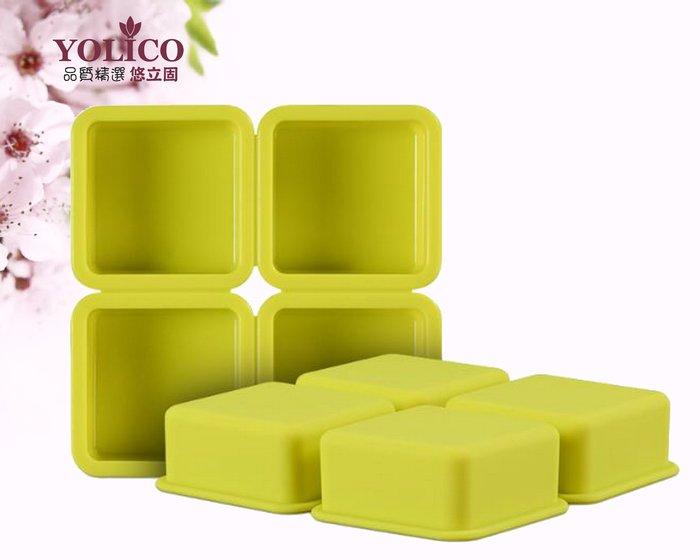 【悠立固】Y122正方形矽膠模4孔四方形矽膠模具 手工皂模具 烘焙工具 巧克力蛋糕模具 冰盒 冰塊布丁果凍模 食品級