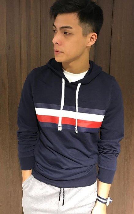 美國百分百【全新真品】Tommy Hilfiger 帽T T恤 TH 薄 長袖 T-shirt 深藍 S-XL I637