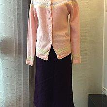 《寶兒花園》紫色毛呢毛料不規則素面及膝裙