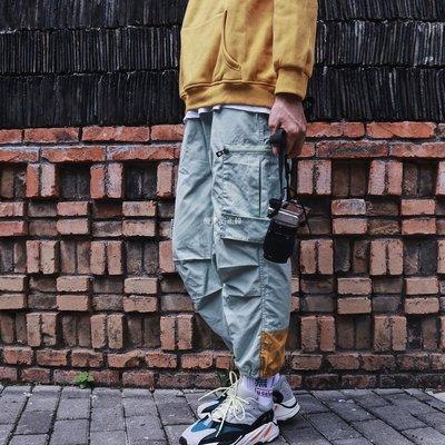 NAIVE RACE三色工裝拼接撞色大口袋CARGO復古街頭INS束腳運動校褲