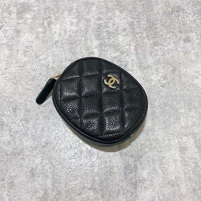 Chanel Coco 拉鍊零錢包 小漢堡 菱格紋 荔枝皮 金釦 黑色《精品女王全新&二手》