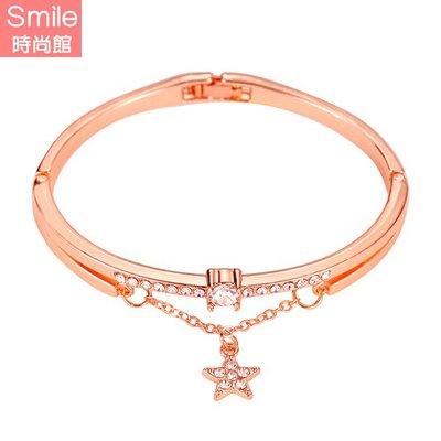 【37A90】SMILE-獨特亮眼.五角星墬式鑲鑽手鐲