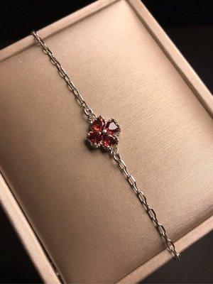 天然石榴石手鍊 切割面紅石榴石925銀四葉幸運草造型鑲鑽鋯石手鏈《舒唯水晶》