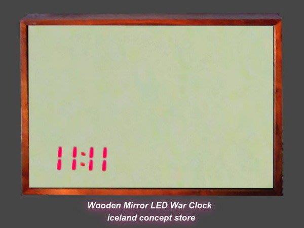 iceland ~ 造型時鐘原木鏡子LED掛鐘 (賠錢賣NT$4500,買到賺到)