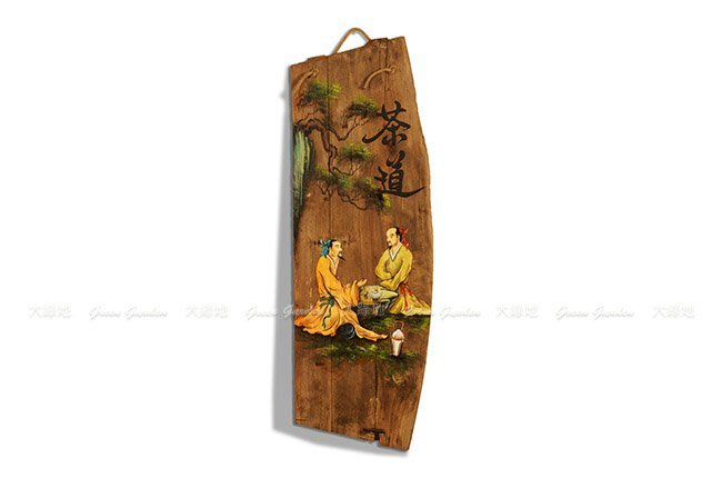 ◎ 【大綠地家具】文創木雕掛畫 香樟木 書畫藝品 【82-茶道】含吊掛麻繩 ◎