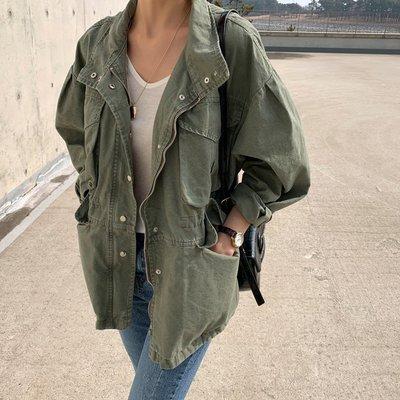 Bellee  正韓   率性立領大口袋腰身軍外套  (2色)   【M3220】 預購